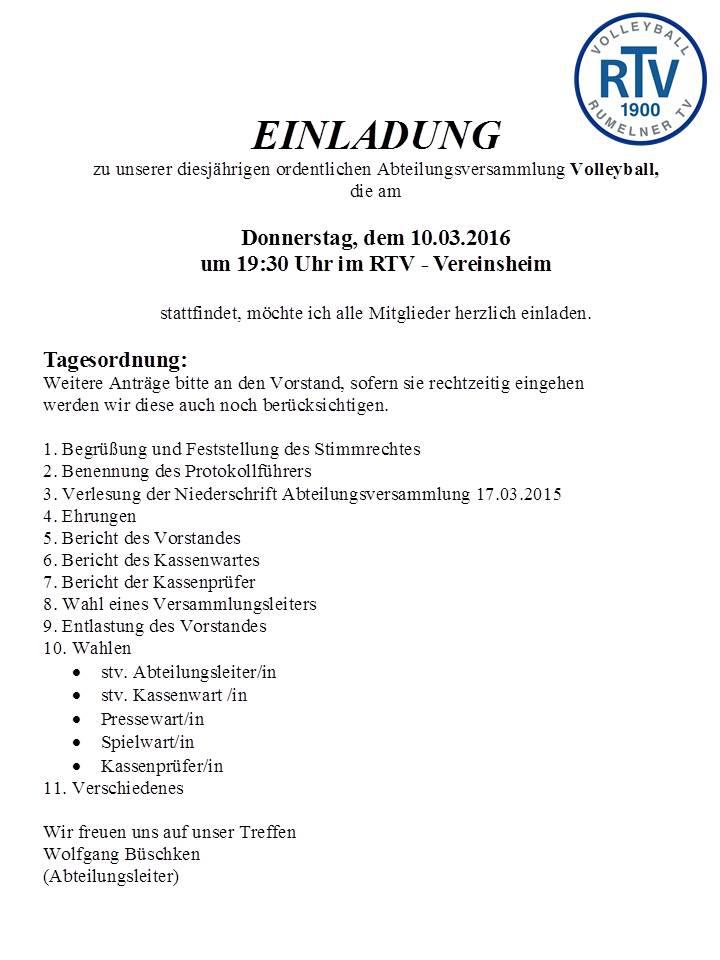 Einladung JHV-Volleyball 2016